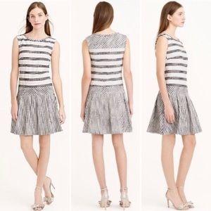 J.Crew Tweed Striped Drop Waist Dress